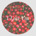 Red Cherry - I Love You (customizable text) Classic Round Sticker