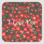Red Cherry - I Love You (customizable text) Square Sticker