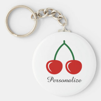 Red cherry keychain with personalized name