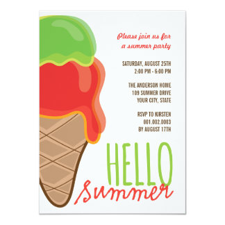 Red Cherry Lime Fun Ice Cream Summer Party Invite