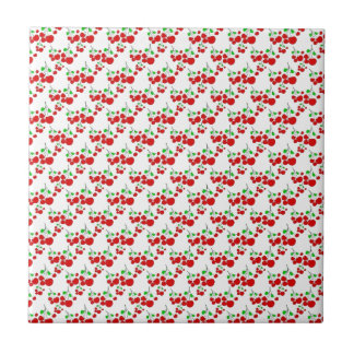Red cherry pattern accessories - cherries by LeahG Ceramic Tiles