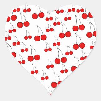 Red Cherry Pattern. Heart Sticker