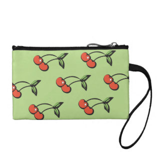 Red Cherry Pattern Key Coin Clutch