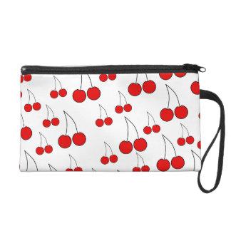 Red Cherry Pattern. Wristlet