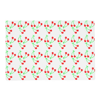 Red cherry summer fruit laminated placemat