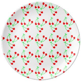 Red cherry summer fruit porcelain plate