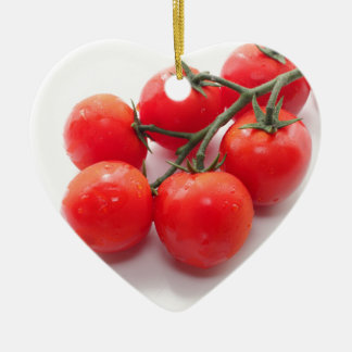 Red cherry tomatoes Double-Sided heart ceramic christmas ornament