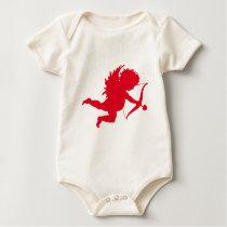 RED CHERUB SILHOUETTE.png Baby Bodysuit