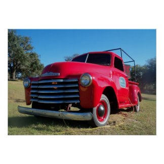 Red Chevrolet Country Pickup Truck Poster Photo
