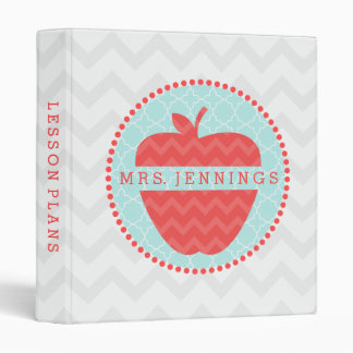 Red Chevron Apple Quatrefoil Teacher Binder