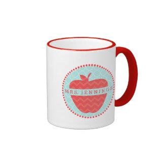 Red Chevron Apple Teacher Quatrefoil Mug