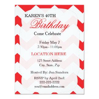 "Red Chevron Birthday Invitation 4.25"" X 5.5"" Invitation Card"