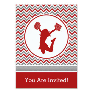 "Red Chevron Cheer or Pom Party Invitation 5.5"" X 7.5"" Invitation Card"