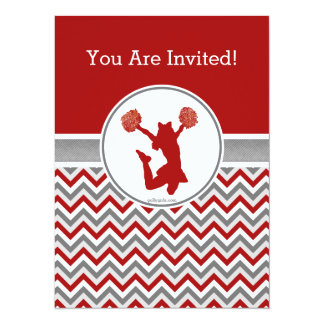 Red Chevron Cheer or Pom Party Invitation