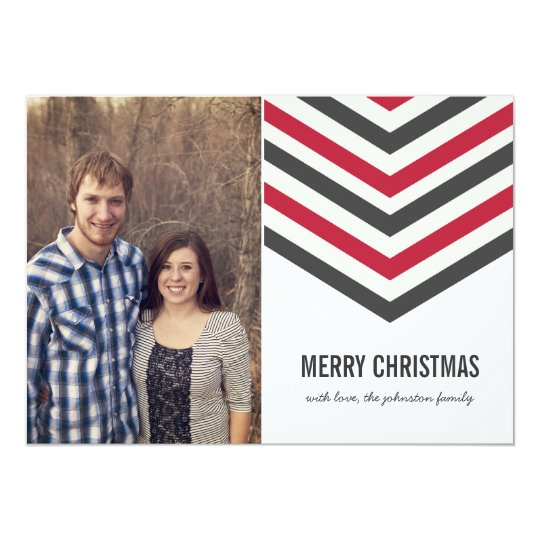 Red Chevron Christmas Photo Flat Cards