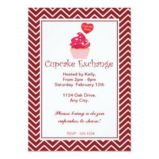 Red Chevron Cupcake Exchange Invitation
