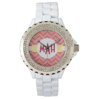 Red Chevron Custom Monogram White Enamel Watch