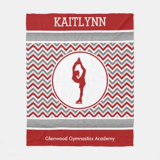 Red Chevron Figure Skater Personalized Blanket