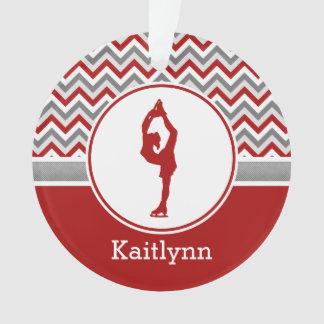 Red Chevron Figure Skater Personalized Ornament