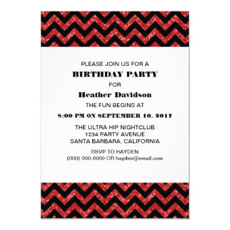 Red Chevron Glitter Birthday Party Invite