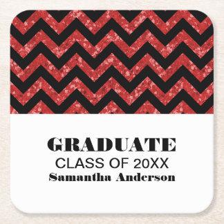 Red Chevron Glitter Graduation Coasters