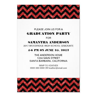 Red Chevron Glitter Graduation Party Invite