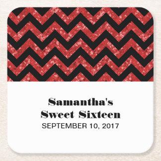 Red Chevron Glitter Sweet 16 Paper Coasters Square Paper Coaster