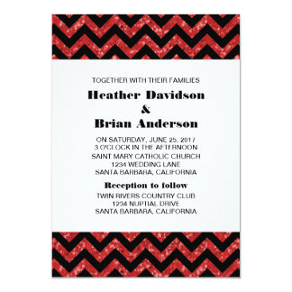 Red Chevron Glitter Wedding Invite