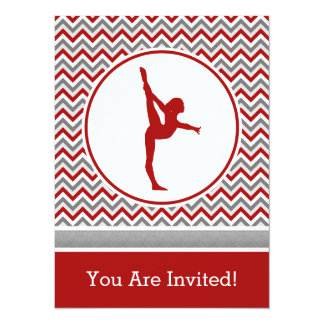 "Red Chevron Gymnast Party Invitation 5.5"" X 7.5"" Invitation Card"