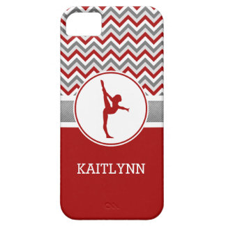Red Chevron Gymnast Personalized iPhone 5 Case