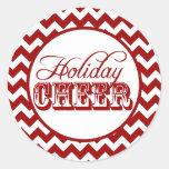 Red Chevron Holiday Cheer Sticker
