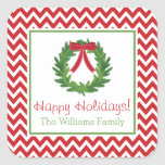 "Red Chevron Holiday Wreath, Christmas Sticker<br><div class=""desc"">This festive personalized Christmas sticker is the perfect finishing touch for all of your holiday packages and envelopes.  Matching items available at Noteworthy Printables</div>"