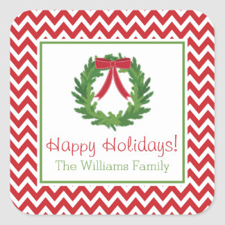 Red Chevron Holiday Wreath, Christmas Sticker