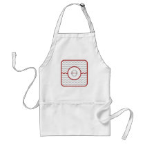 Red Chevron Monogram Adult Apron