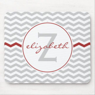Red Chevron Monogram Mouse Pads