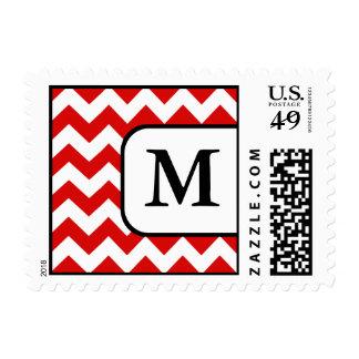 Red Chevron Monogram Postage Stamps