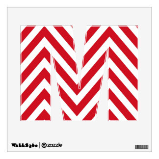 RED CHEVRON PATTERN MONOGRAM INITIAL M WALL DECAL