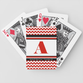 Red Chevron Personalized Playing Cards