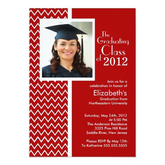 Red Chevron Photo Graduation Party Invitation