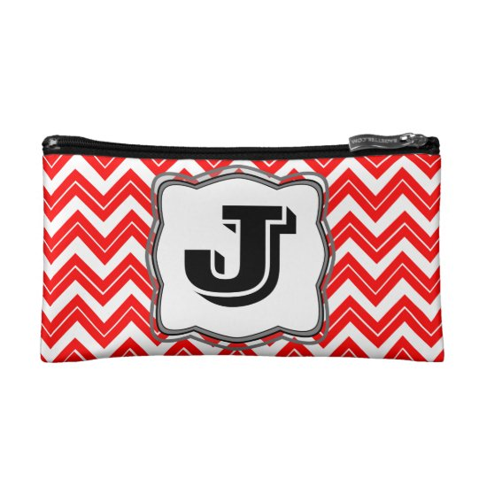 Red Chevron Print Cosmetic Bag
