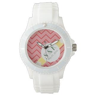 Red Chevron Sporty Monogram Silicone Watch