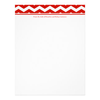Red Chevron Stationery w/ Signature Heading Text Personalized Letterhead