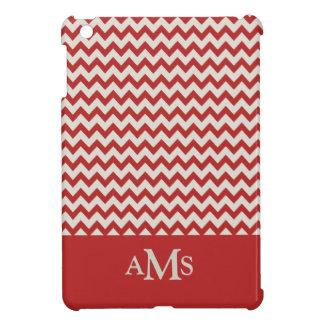Red Chevron Stripe 3  Monogram Case For The iPad Mini