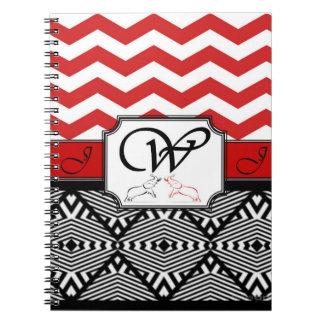 Red Chevron Stripe Elephant Monogramed Notebook