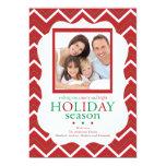 """Red Chevron Stripe Retro Holiday Photo Card 5"""" X 7"""" Invitation Card"""