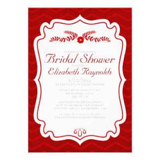 Red Chevron Stripes Bridal Shower Invitations Invitations
