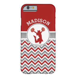 Red Chevron Stripes Monogrammed Cheer/Pom Barely There iPhone 6 Case