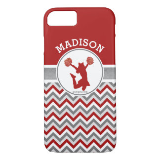 Red Chevron Stripes Monogrammed Cheer/Pom iPhone 8/7 Case