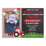 Red Chevron Tractor Birthday Party Invitation