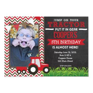 red_chevron_tractor_birthday_party_invitation r450d9e8568fa4dd4b0d64f09be4a8c37_zkrqs_324?rlvnet=1 tractor birthday invitations & announcements zazzle,Tractor Birthday Party Invitations